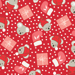 Christmas Koalas & Presents ~ Red