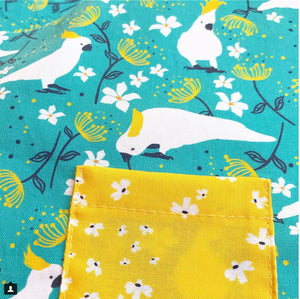 Cockatoo fabric ~ Aqua