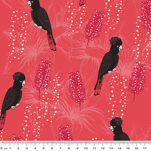 Black Cockatoo Fabric on Red
