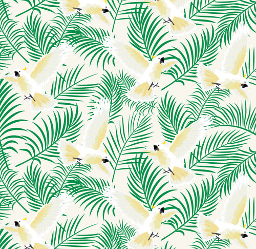 Tropical Cockatoo fabric ~ Cream