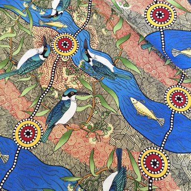Aboriginal Fabric: Kingfisher Camp by River