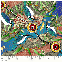 Load image into Gallery viewer, Aboriginal Fabric: Kingfisher Camp by River