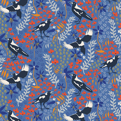 Magpie Fabric on Blue