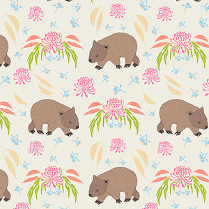 Wombat Fabric ~ Cream