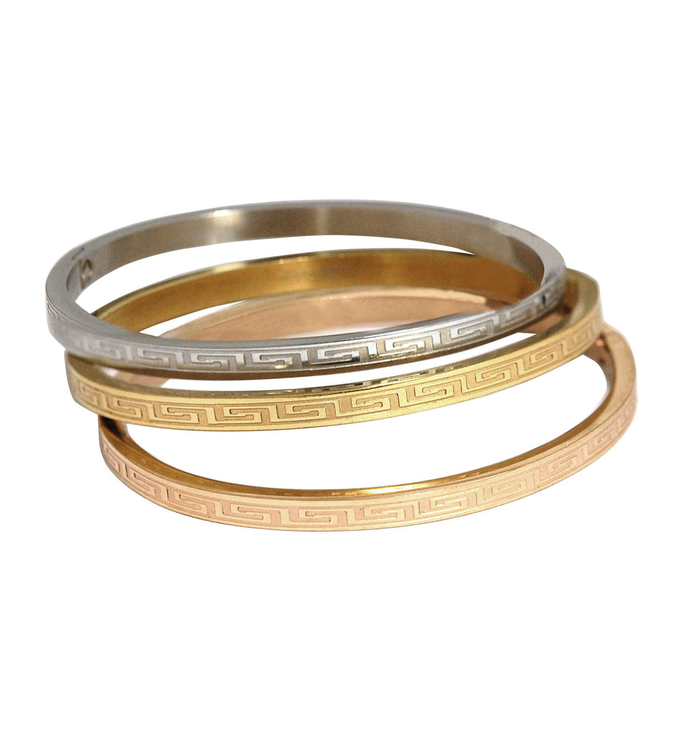 ESBG 6569: Set of 3 Tri-Color Separate Thin Greecian Bangles (White, Gold. Rose Gold)