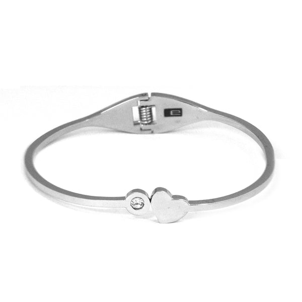 ESBG 5988: Hard Stainless Steel Bangle w/ Sweet Heart & Cubic Zirconia End (White)