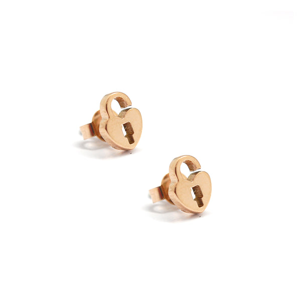 ESE 5076: Rose Gold Love Locked In My Heart Studs