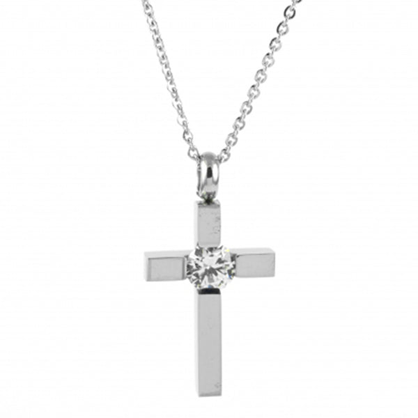 ESN 5091: Block Crucifix w/ 6mm Cubic Zirconia (19