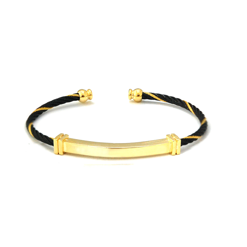 ESBG 5196: Thin Black & Gold Plated Charriol Bg w/ Gold Plated Nameplate Center & Ends