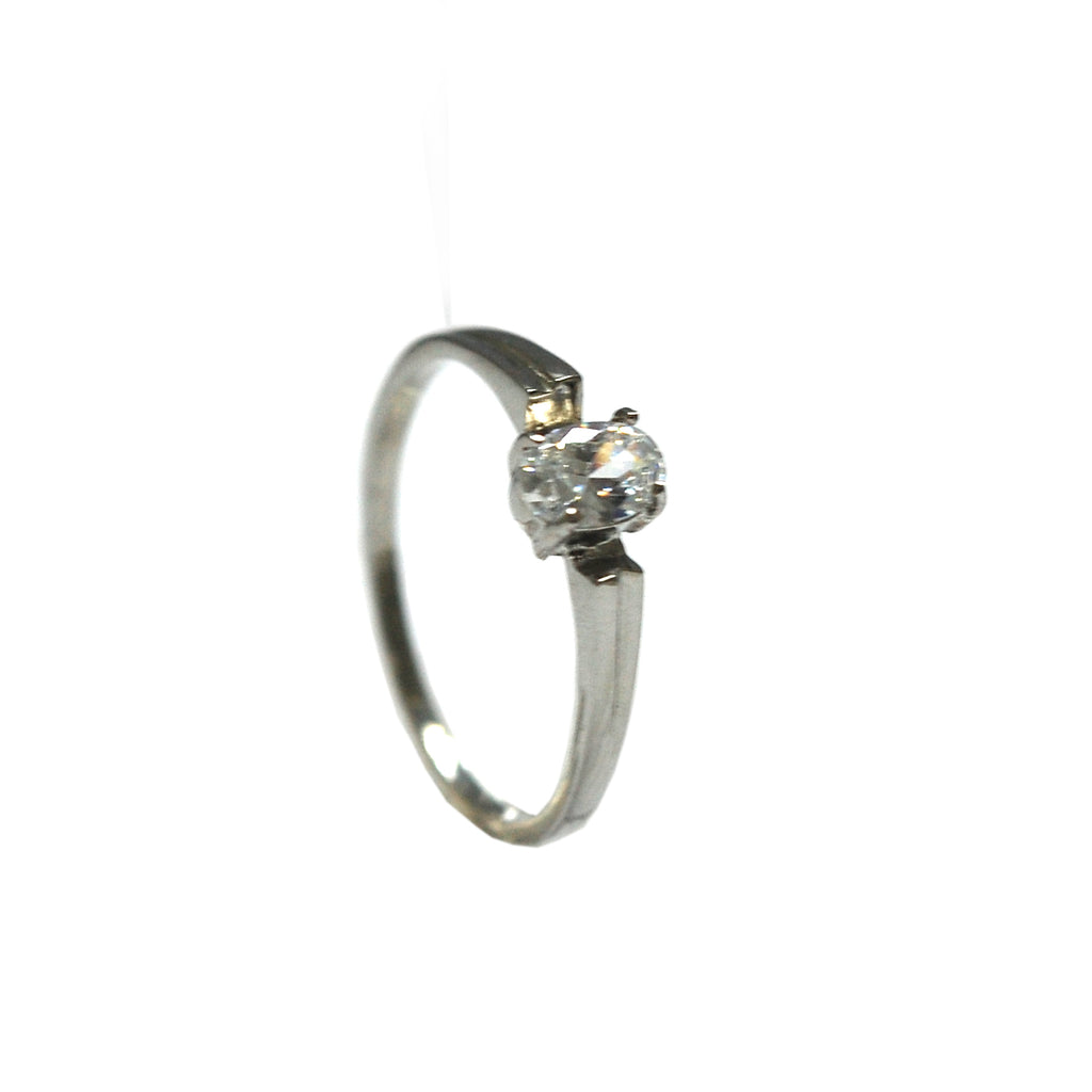ESR 6604: Faith 4mm Oval Solitaire Ring w/ Open Flared Setting