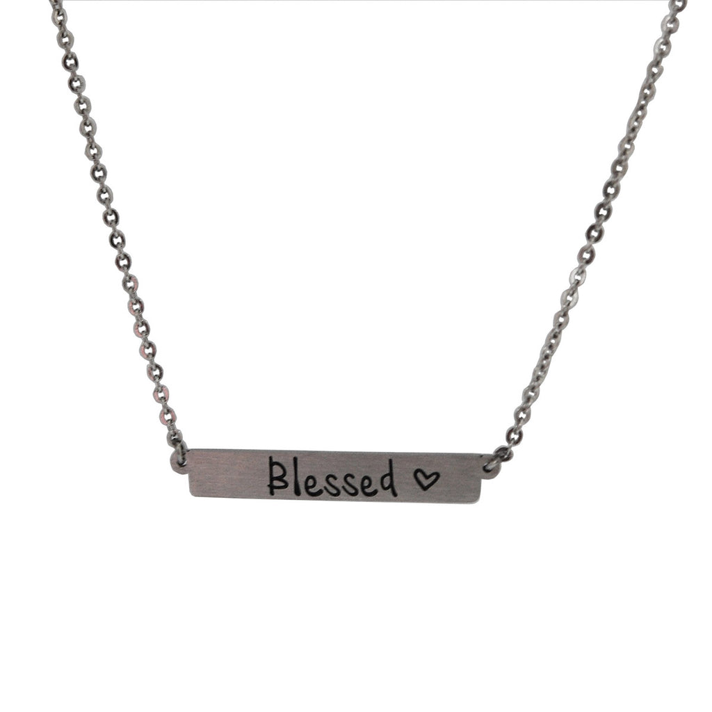"ESN 5353: ""I Am Blessed"" Bar Necklace w/ 18"" + 2"" Chain"