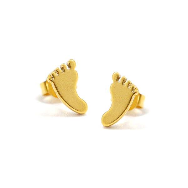 ESE 5376: Gold Plated Tiny Toes Stud Earrings