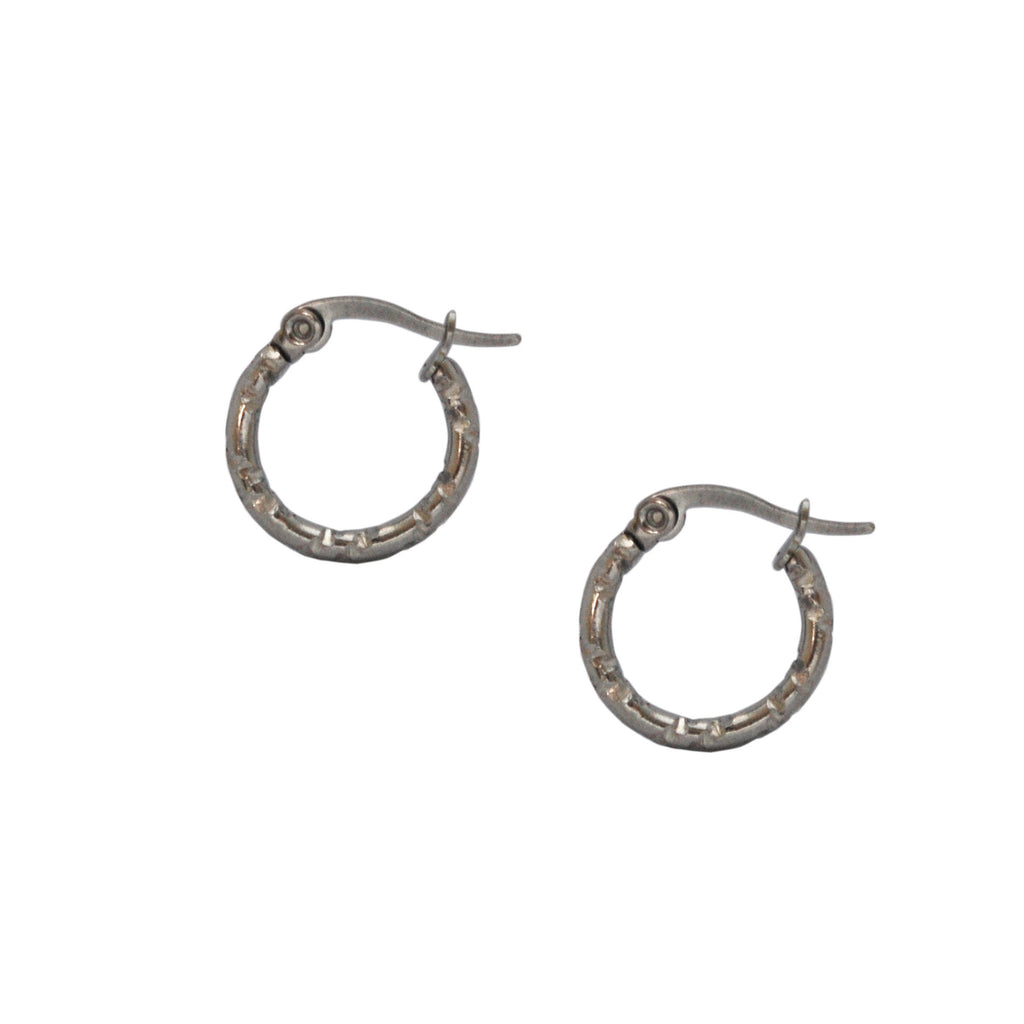 ESE 5446: 15mm  Bamboo Like Hoop Earrings