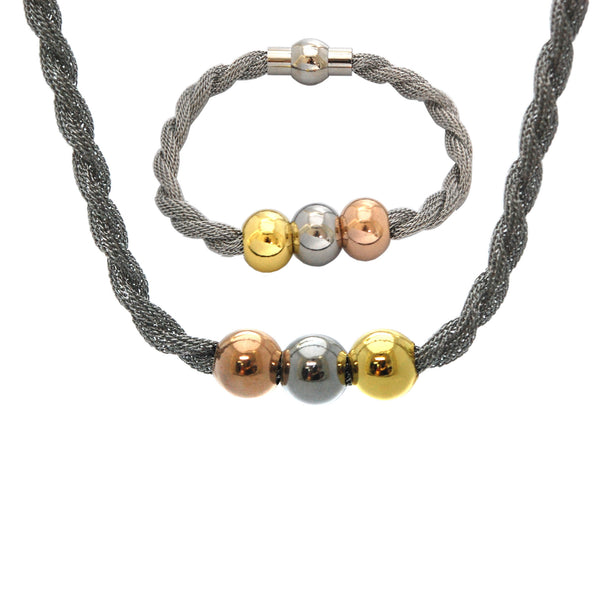 SET 4952: Twisted Rope Bracelet & Necklace w/ 3-Color Trio Balls Ctr