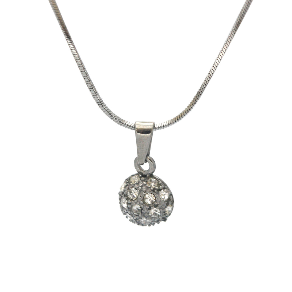 "ESN 5502: Cubic Zirconia-Studded Half Ball Necklace w/ 17"" Snake Chain"