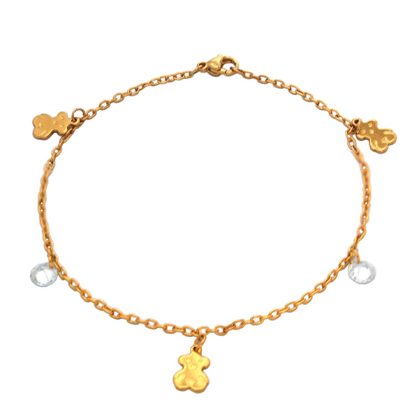 ESA 5503: Teddy Bear Anklet w/ 2 Cz Charms