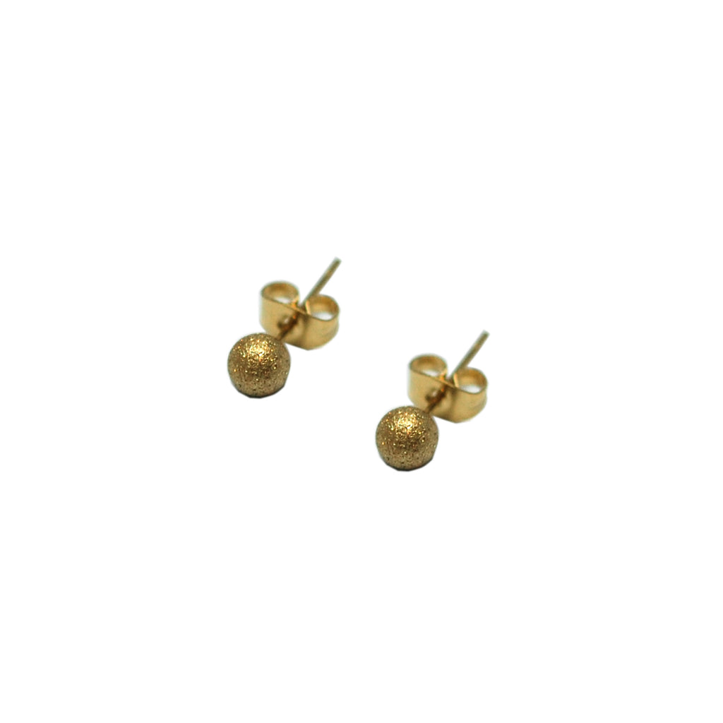 ESE 5552: Gold Plated 5mm Sandblasted Circle Earrings