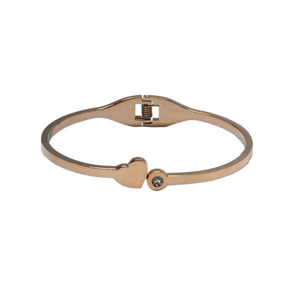 ESBG 5560: Hard Bangle w/ Sweet Heart & Cubic Zirconia End (Rose Gold)