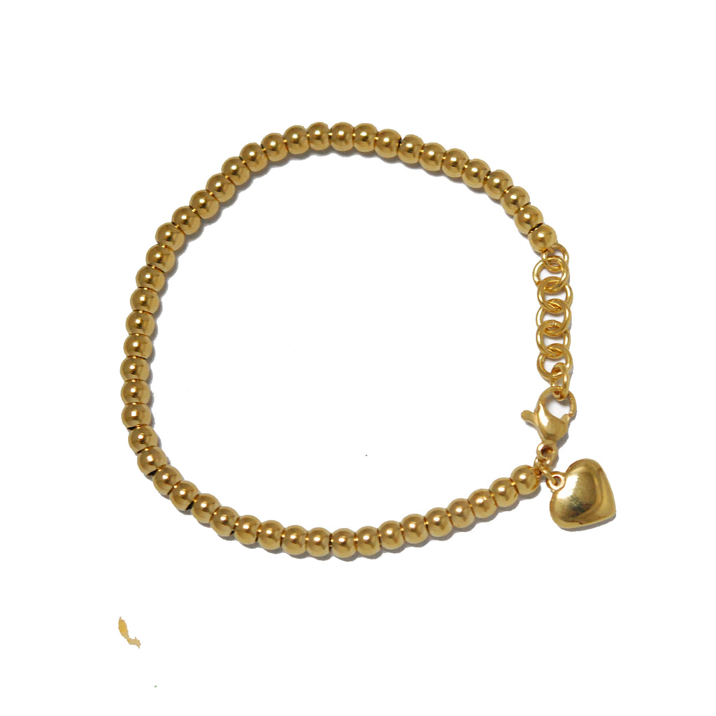 ESBL 5580: 47 Gold Plated Steel Ball Bracelet w/ Baby Heart Charm