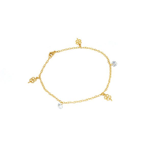 ESA 5692 : Gold Plated 4-Leaf Clover Anklet w/ 2 Cz Charms