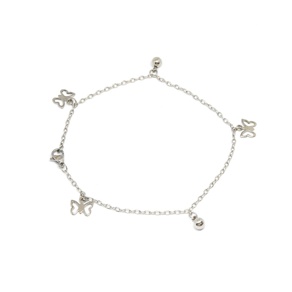 ESA 5697 : Pretty Butterfly Anklet w/ 2 Ball Charms