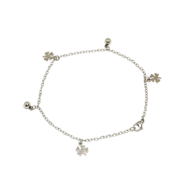 ESA 5699 :  Lucky Clover Anklet w/ 2 Ball Charms