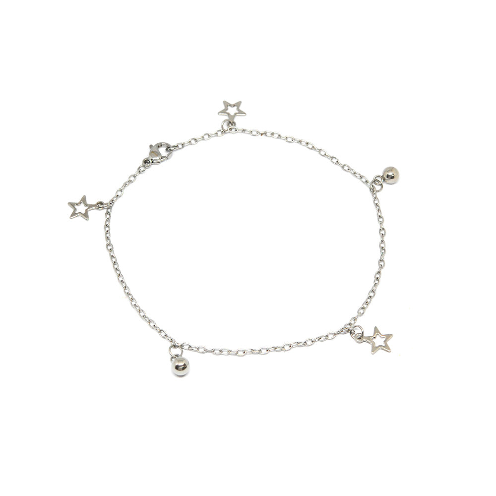 ESA 5700 : All Star Anklet w/ 2 Ball Charms