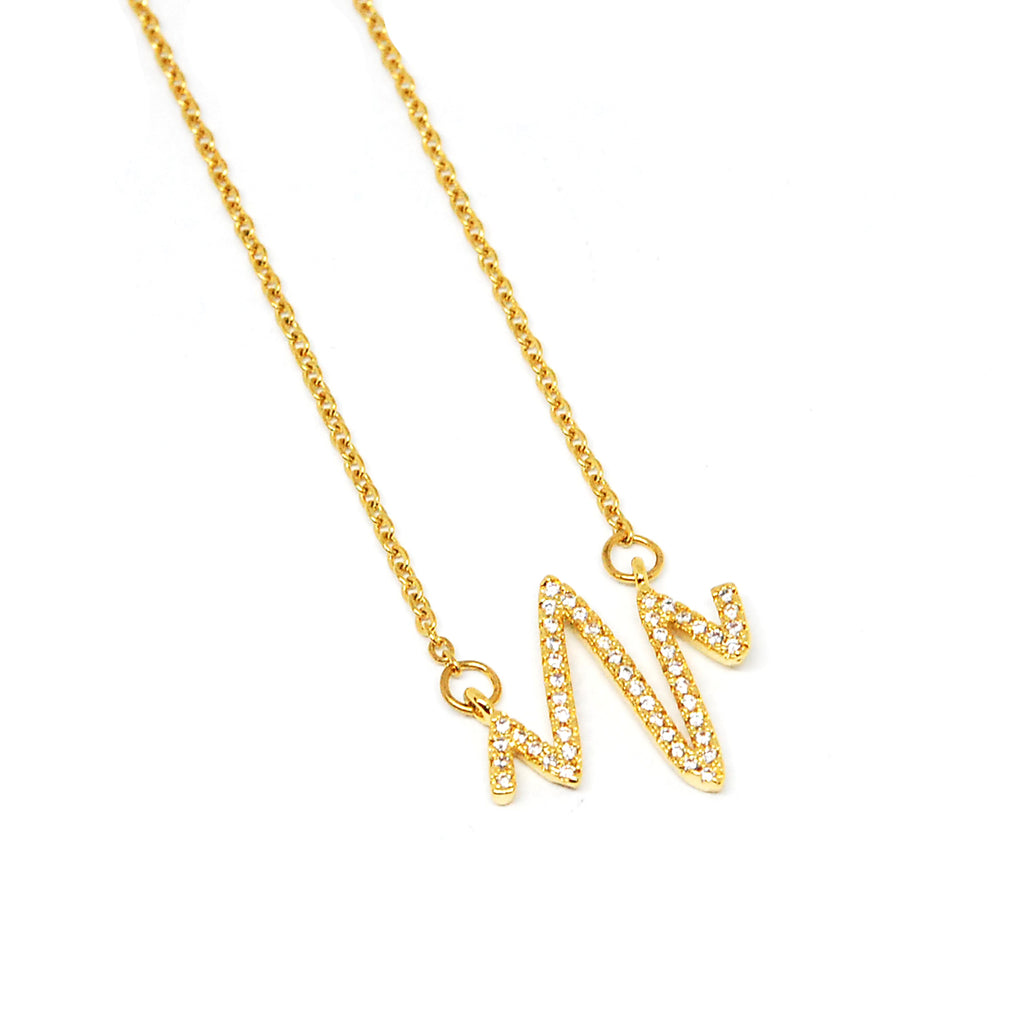 ESN 6042: Gold Plated Heart Beat CZ Studded Necklace
