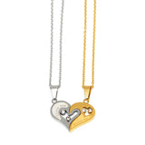 ESN 6088: White & Gold Plated I Love You Heart Necklace Set
