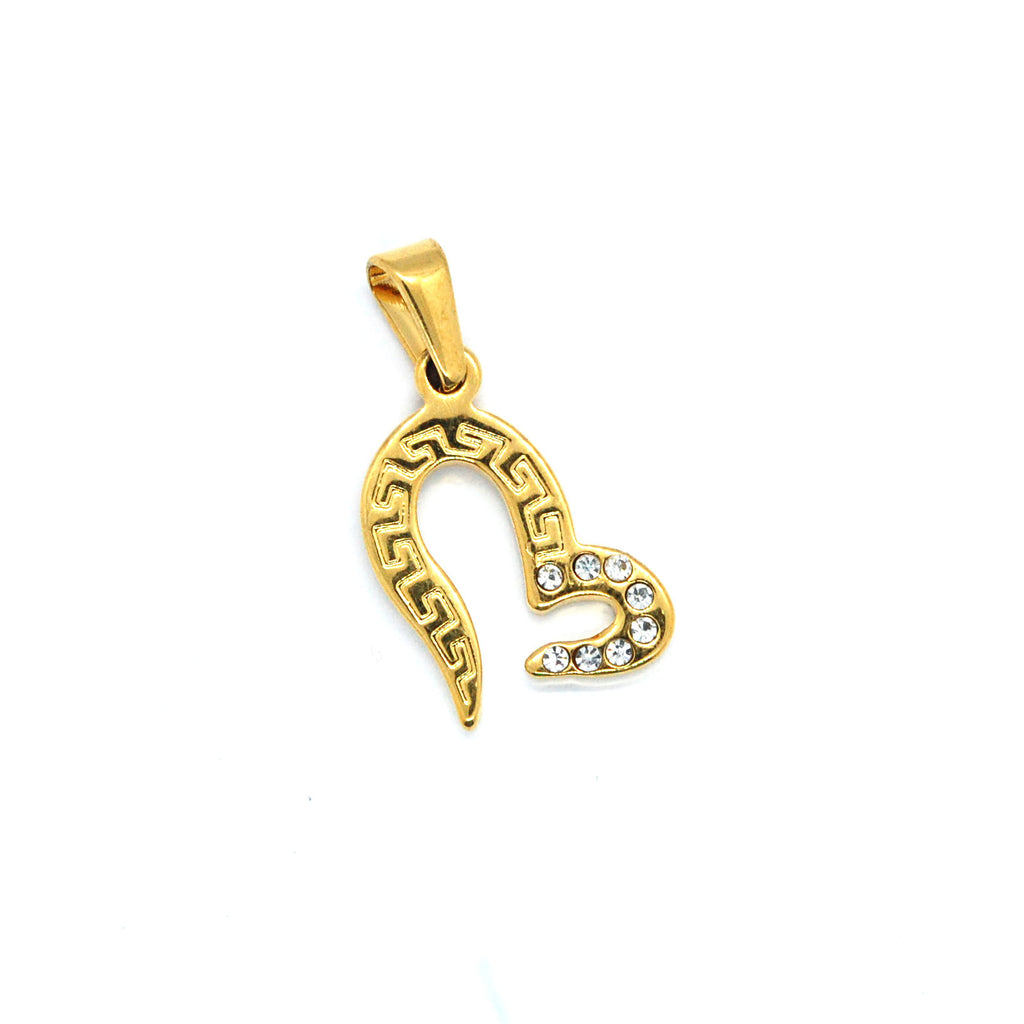 ESP 6177: Gold Plated Crazy Rich Asian Heart Pendant w/ 8 Cz