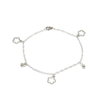 ESA 6357 : Cute 5-Petal Fat Flower & Balls Anklet