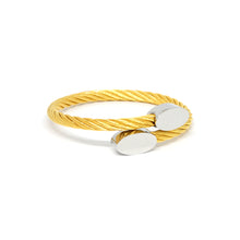 ESBG 6580: Gold Plated Twisted Charriol Bangle w/ S/S Oval Ends