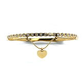 ESBG 6582: Gold-Plated 19-Cubic Zirconia Half-Eternity Bangle w/ Mini Tiffany Heart Charm