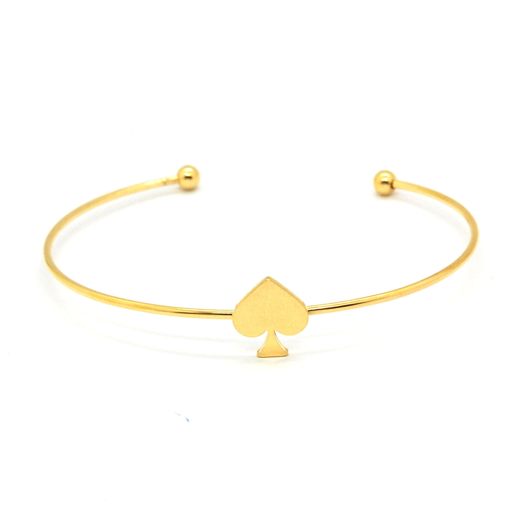 ESBL 6599: Gold-Plated Ultra-Thin Bangle w/ Ace of Spades Center