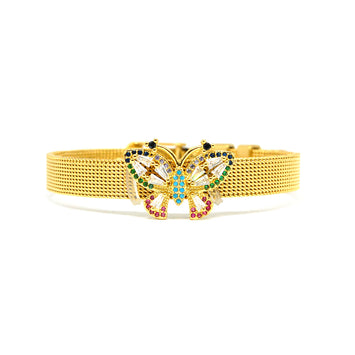 ESBL 6656 : Gold Plated Cz-Adorned Butterfly Belt Bracelet