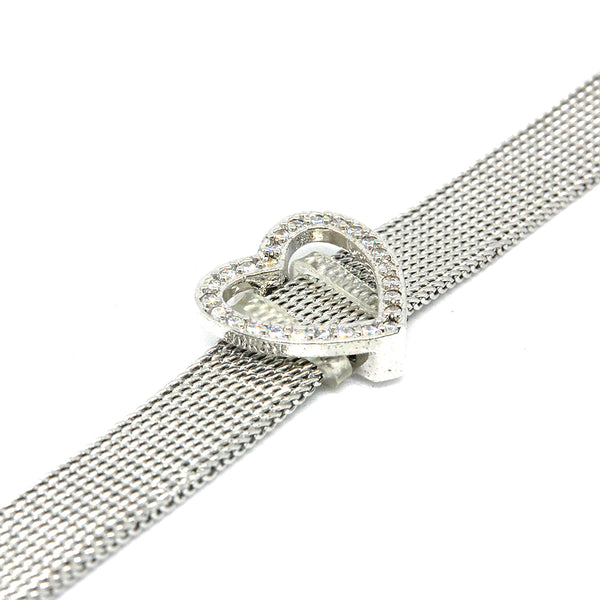 ESBL 6659 :  Cz-Adorned Heart Belt Bracelet