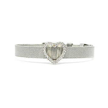 ESBL 6659: Cz-Adorned Heart Belt Bracelet