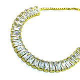 ESBL 6660: Gold Plated 26-Emerald Cut Cubic zirconia Adjustable Bracelet