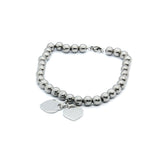 ESBL 6664: 32-Steel Ball Bracelet w/ Double Tiffany Charms