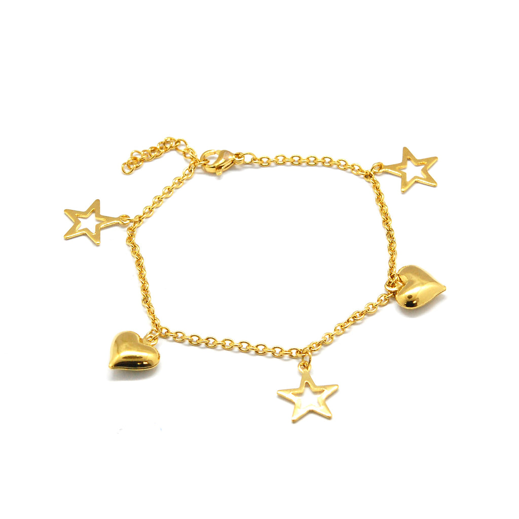 ESBL 6688: Gold Plated 3-Star & 2-Heart Bracelet