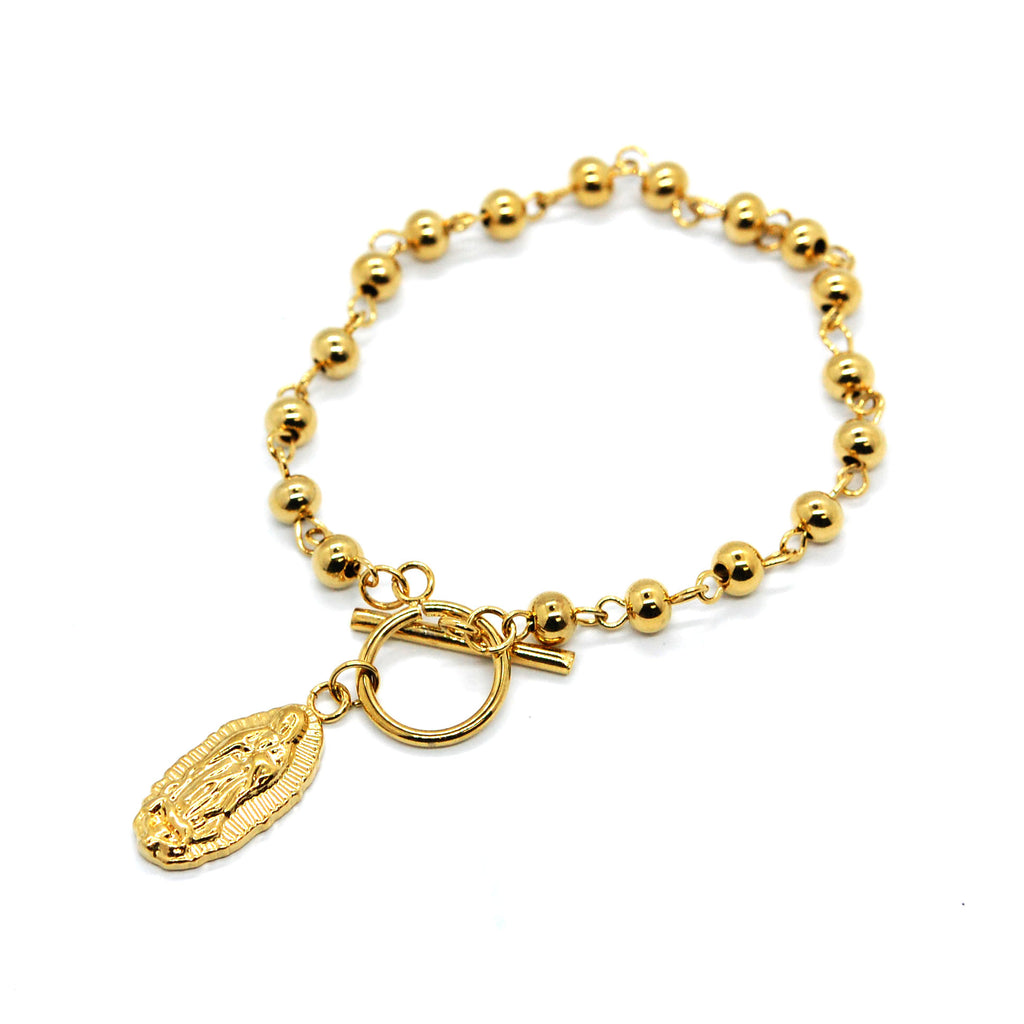 ESBL 6689: Gold Plated Ball Bracelet w/ Virgin Mary Charm & Cicle Lock