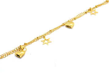 ESA 6693: Gold Plated Double Chain Anklet w/ 2 Heart 3 Star Charms