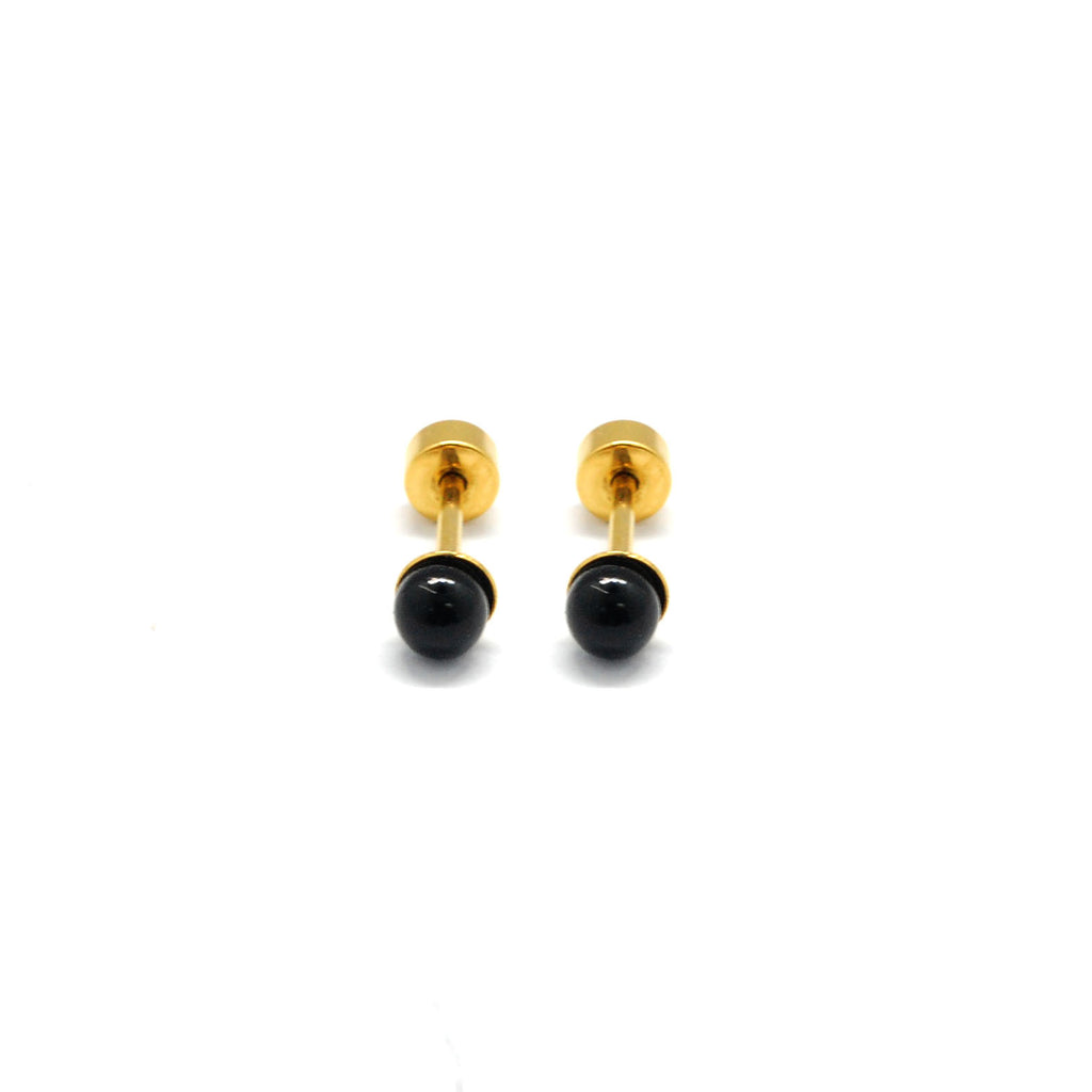 ESE 6700: Black 4mm Gold Plated Aira Studs w/ Baby Safe Chapita