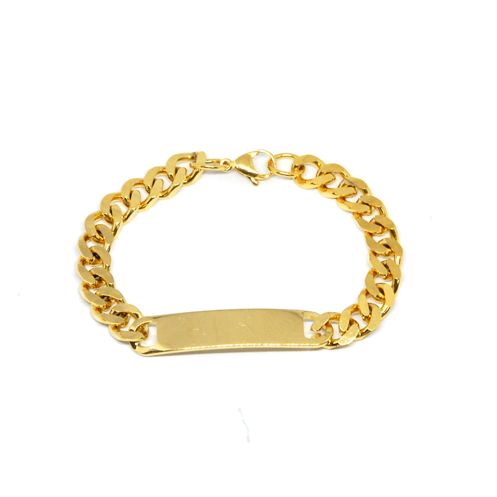 "ESBL 6708 : Gold Plated 7.5"" Cuban Link ID Nameplate Bracelet (8mm)"