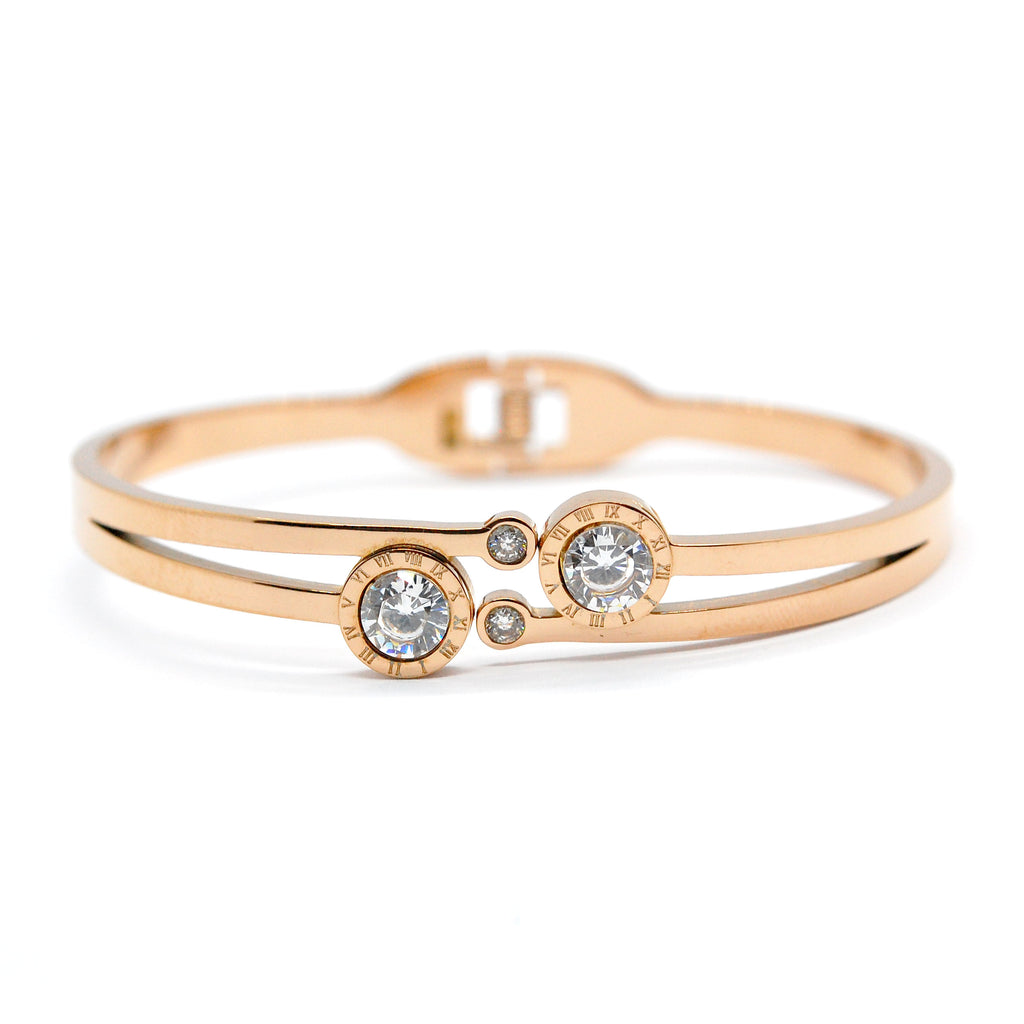 ESBG 6714: Roundabout Hard Bangle w/ Large Cz Accents (Rose Gold)