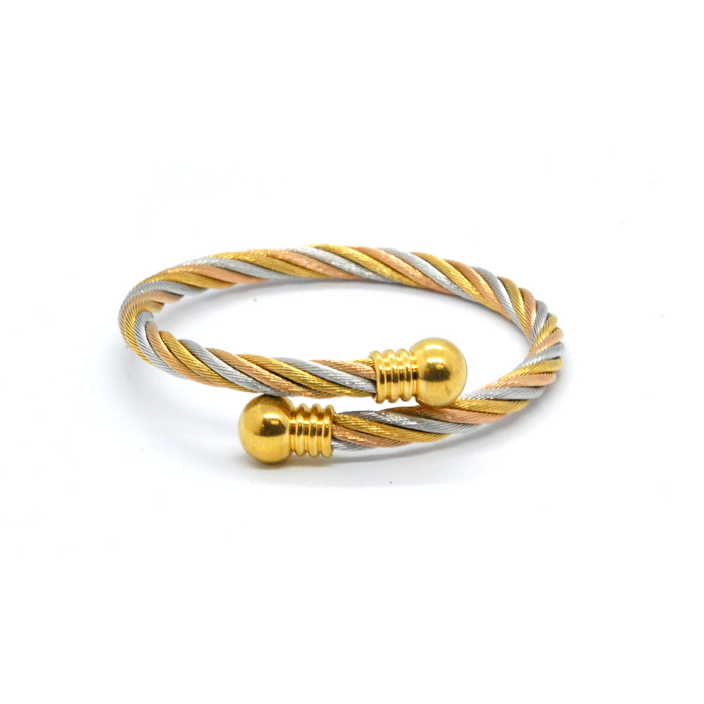 ESBG 6717: 3-Tone Twisted Charriol Bangle w/ Gold Plated Round Ends