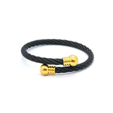 ESBG 6718: Black Twisted Charriol Bangle w/ Gold Plated Circle Ends