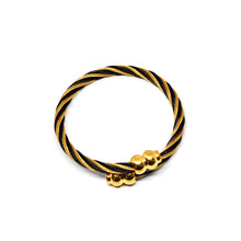 ESBG 6719: 2-Tone Twisted Bangle w/ Gold-Plated Celtic Torc Ends (Black & Yellow Gold)