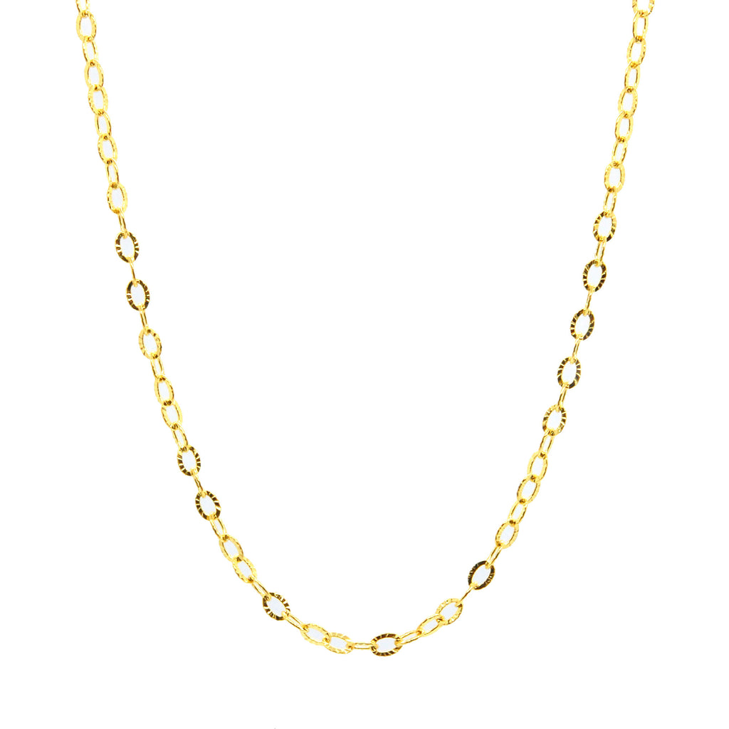 "ESCH 6728: 19"" Gold Plated Beautifully Etched Cable Link Chain"