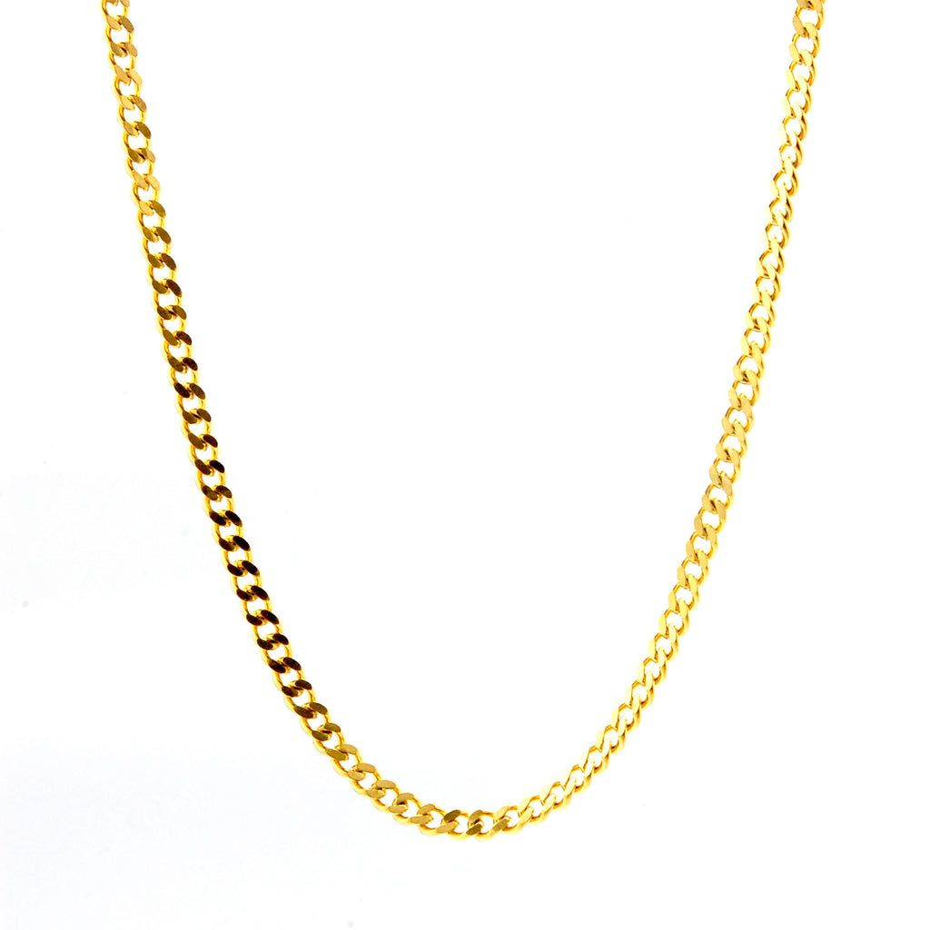 "ESCH 6730: 19"" Gold Plated Semi-Matte Cuban Link Chain (2mm)"